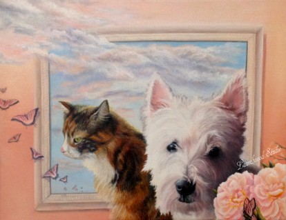 Westie Terrier and Calico Cat - Animal Pet Portrait in Acrylic and Oil Paint