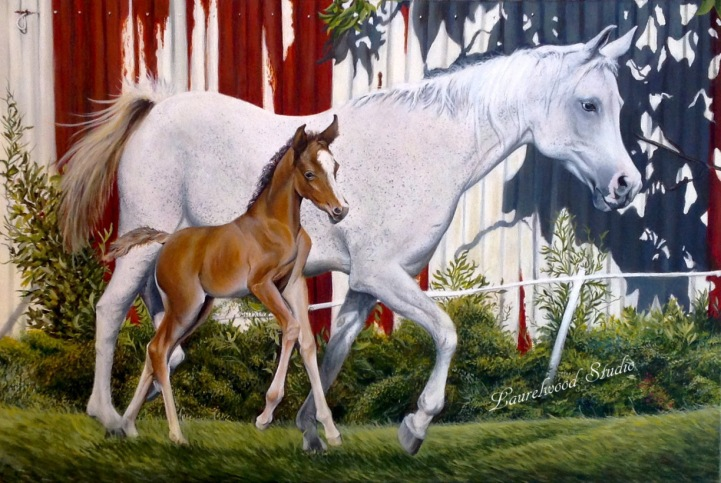 Mare and Foal - Horse Pet Portrait in Acrylic Paint