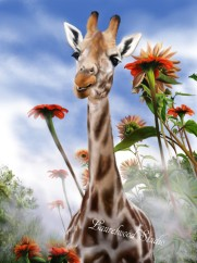 Giraffe and Sunflowers - Fantasy Digital Wildlife Painting