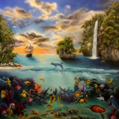 Marine Landscape - Pirate Ship, Waterfall, and Aquatic Wildlife Painting in Acrylic