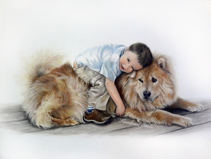 A Boy and His Best Friend.... Dog Pet Portrait of a chow with child in colored pencil and oil paint on Gessobord